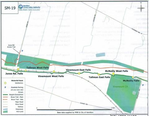 Map including Jones Road Falls