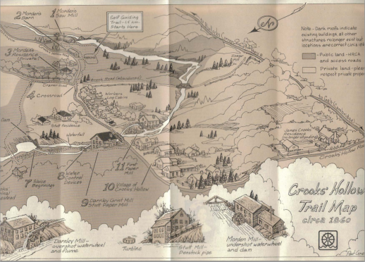 A reproduction of an 1860 map depicting the Crooks' Hollow area