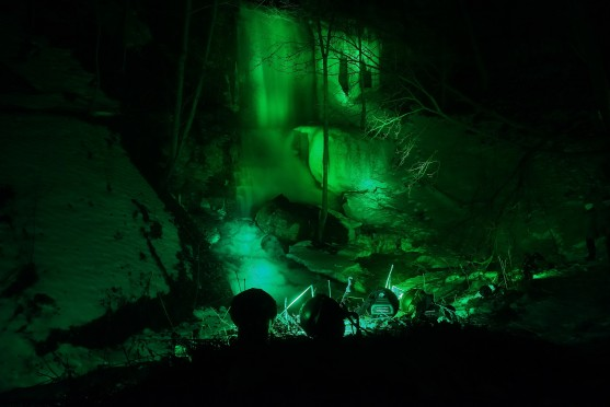 This is Billy Green Waterfall illuminated in green for St.Patrick's Day