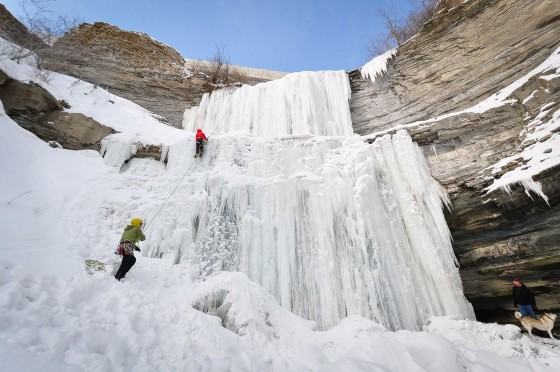 Ice Clbers are having fun in Hamilton when cold temperatures had frozen most of our waterfalls.