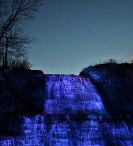 Albion Falls illumination in Hamilton.