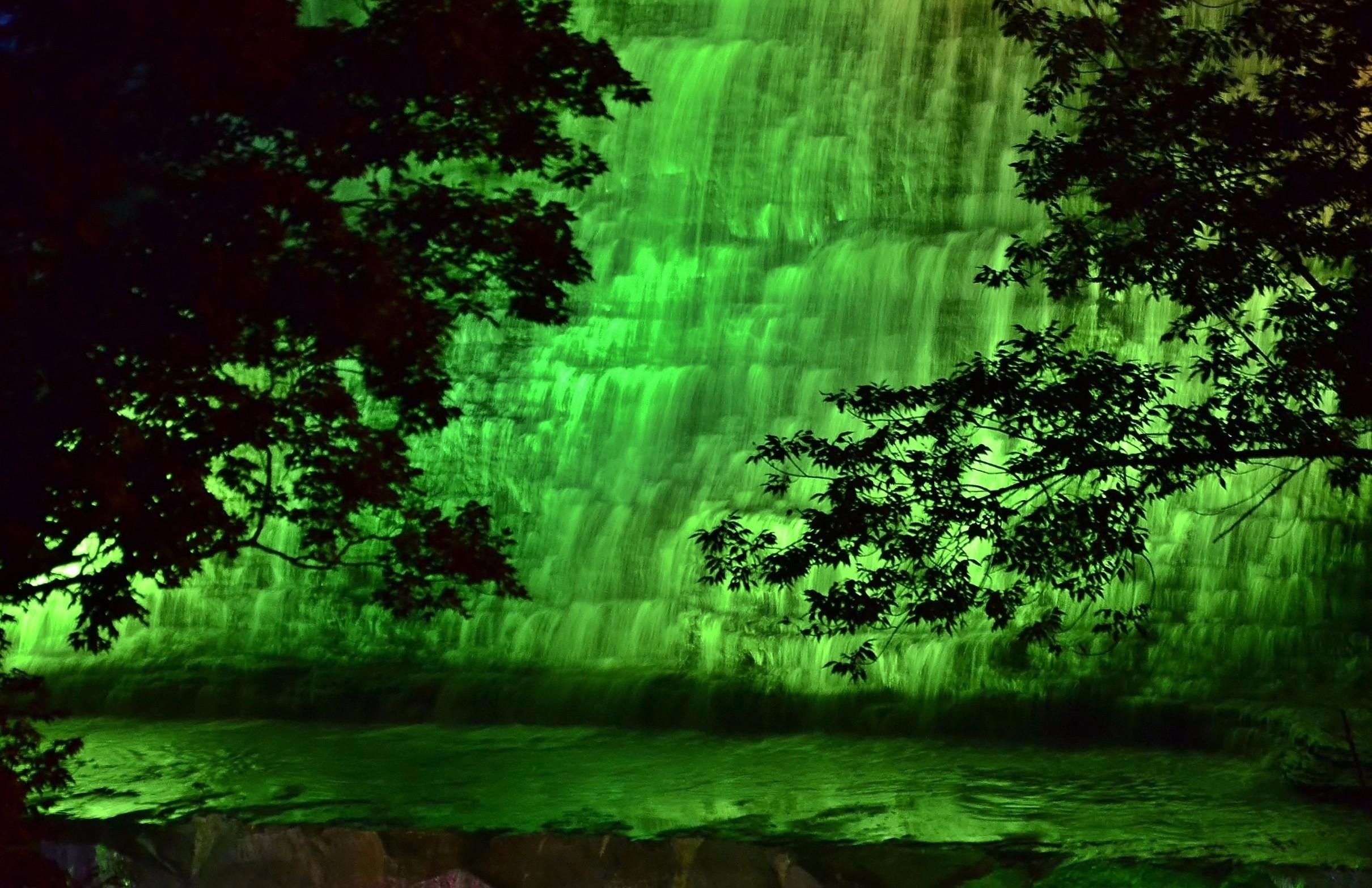 Albion Falls illuminated in Green