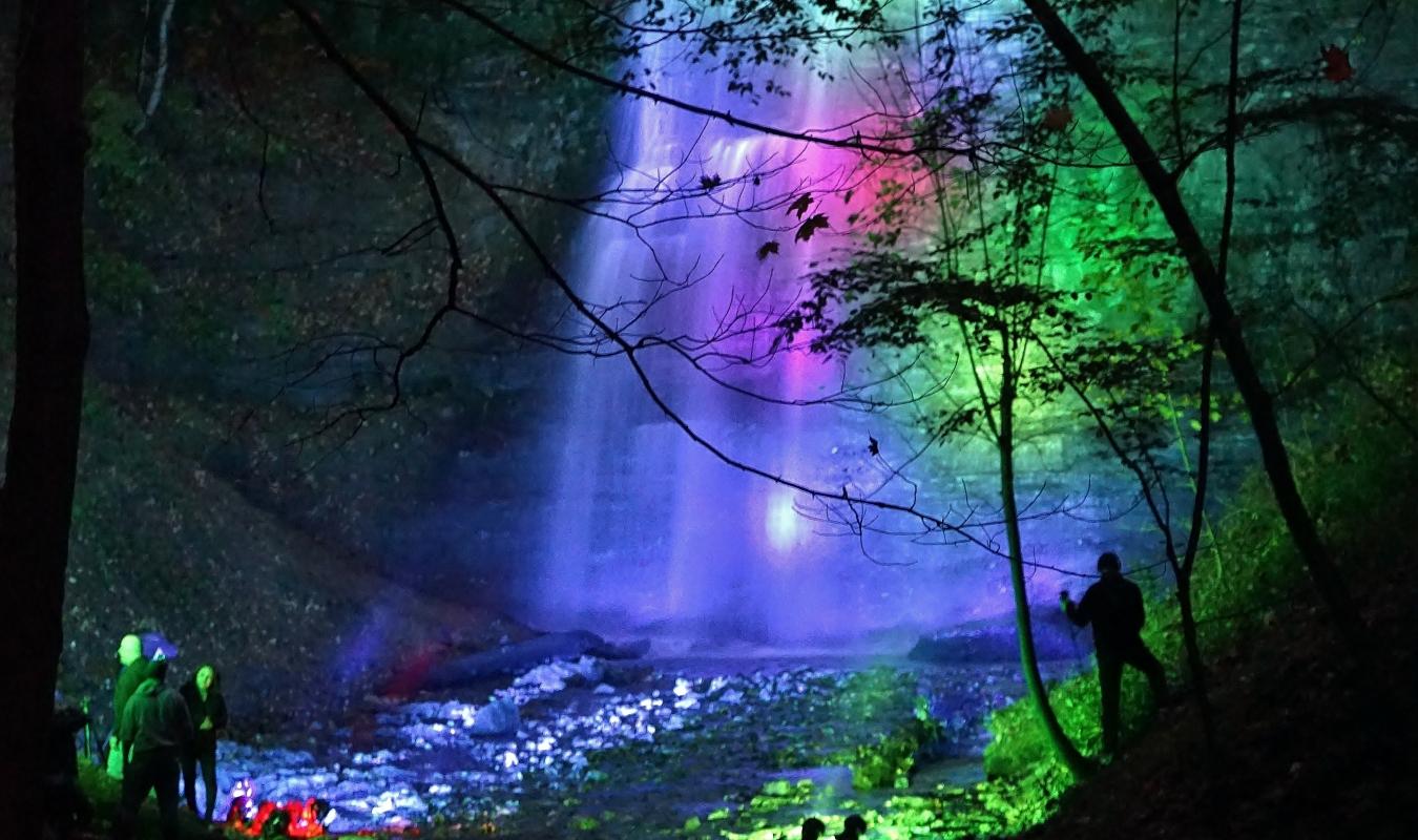 tiffany falls lit up at night